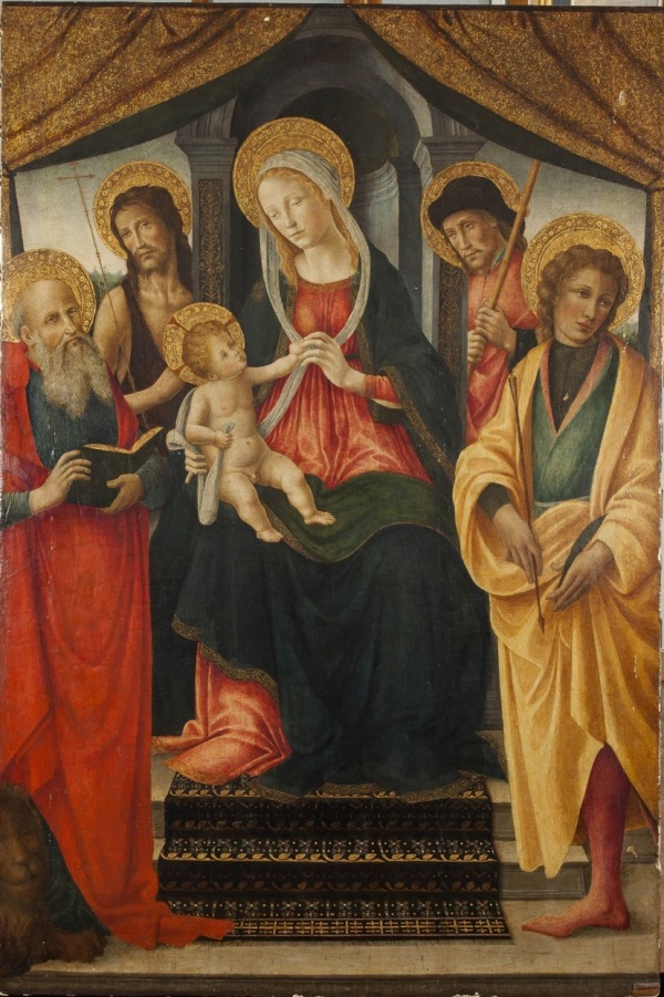VINCENZO FREDIANI (Documented in Lucca 1481 to 1505) MADONNA WITH CHILD AND SAINTS JOHN THE BAPTIST, ROCCO, JEROME AND SEBASTIAN tempera on panel, 92 x 137 cm Click on image to enlarge.