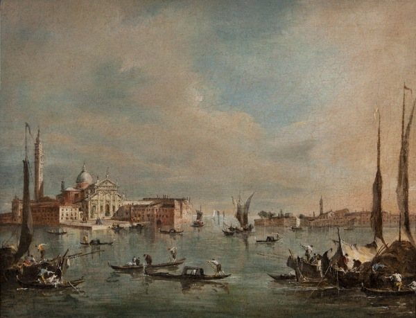 Francesco Guardi (Venice, 1712-1793) The basin of San Marco with the island of San Giorgio Maggiore and the tip of Giudecca oil on canvas, cm. 34.2 x 44.7 Click on image to enlarge.
