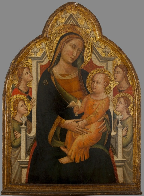 MASTER OF SAN POLO IN CHIANTI (active ca. 1340-1360) MADONNA AND CHILD IN THE THRONE AND FOUR ANGELS tempera on panel, 72 x 52 cm