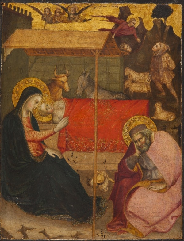 MASTER OF THE STRAUS MADONNA (Florence, active between 1385 and 1415 approx) NATIVITY OF CHRIST tempera on panel, 34 x 26 cm Click on image to enlarge.