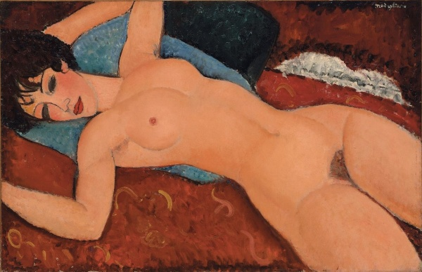 Amedeo Modigliani (1884-1920), 'Nu couché (Reclining Nude)', painted in 1917-18 Click on image to enlarge.