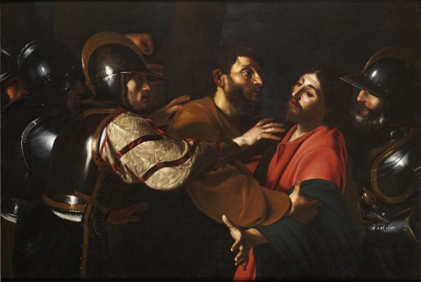 Bartolomeo Manfredi's The Capture of Christ, oil on canvas, 120x174cm was painted ca. 1613-1618, and was inspired by Carvaggio's The Taking of Christ (now at the National Gallery of Ireland, Dublin). Click on image to enlarge.