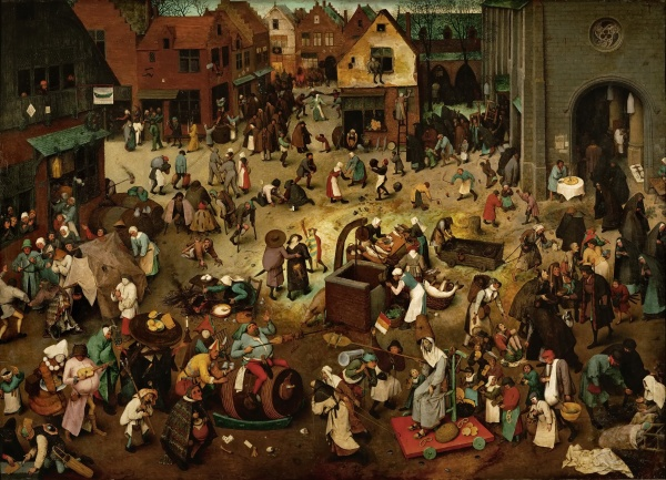 Pieter Bruegel the Elder, The Fight between Carnival and Lent, 1559 Oil-on-panel: 118 cm × 164 cm (46 in × 65 in) LocationKunsthistorisches Museum, Vienna Click on image to enlarge