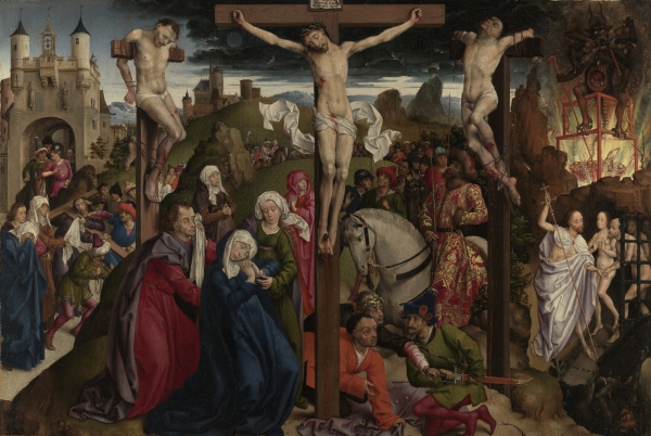 THE MASTER OF THE DREUX-BUDÉ TRIPTYCH, PROBABLY ANDRÉ d'YPRES, The Crucifixion, The J. Paul Getty Museum, Los Angeles. Click on image to enlarge.