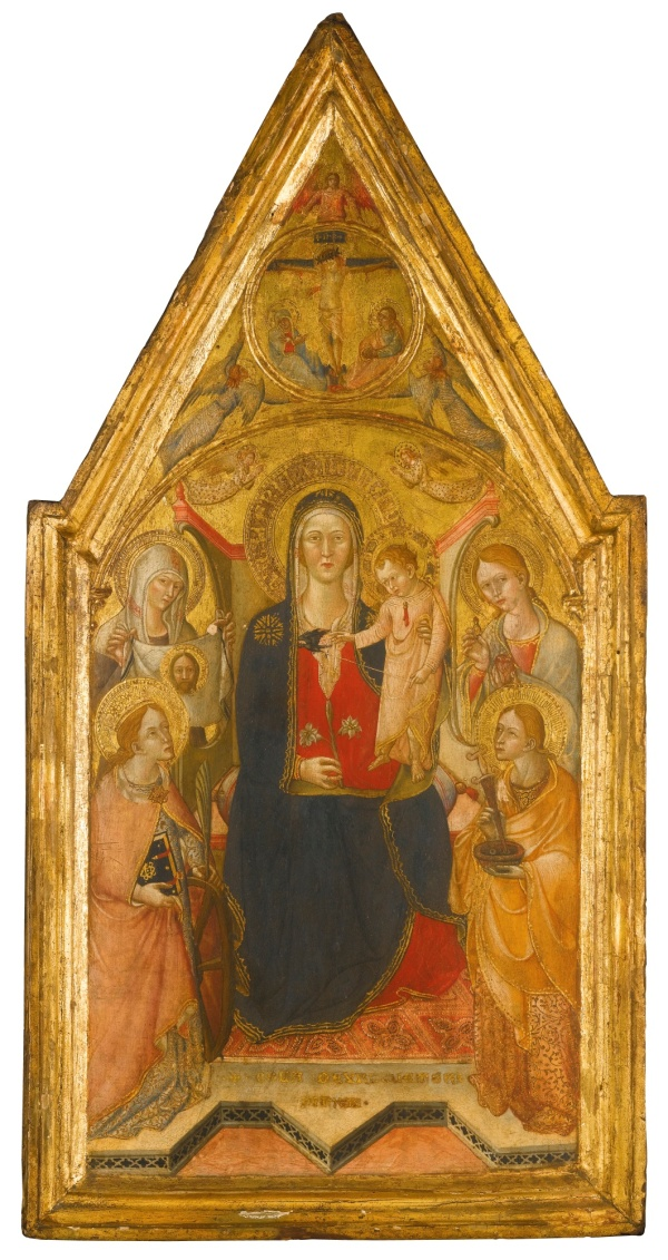Lot 11. Cola di Petruccioli da Orvieto ACTIVE ORVIETO 1372 - 1401 PERUGIA THE MADONNA AND CHILD ENTHRONED, FLANKED BY SAINT CATHERINE OF ALEXANDRA, SAINT VERONICA, SAINT MUSTIOLA AND SAINT LUCY signed lower centre: COLA DE URBIUETERI / PINXIT tempera on poplar panel, gold ground with a shaped top 64.3 by 32 cm.; 25 1/4 by 12 5/8 in. Estimate: £60,000-80,000. Click on image to enlarge.