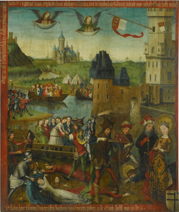 Lot 2.The Master of 1456 ACTIVE IN COLOGNE DURING THE 1450S THE MARTYRDOM OF SAINT URSULA AND THE ELEVEN THOUSAND VIRGINS OF COLOGNE oil on oak panel 127.5 by 108.5 cm.; 50 1/4 by 42 3/4 in. Estimate: £60,000-80,000. Click on image to enlarge.