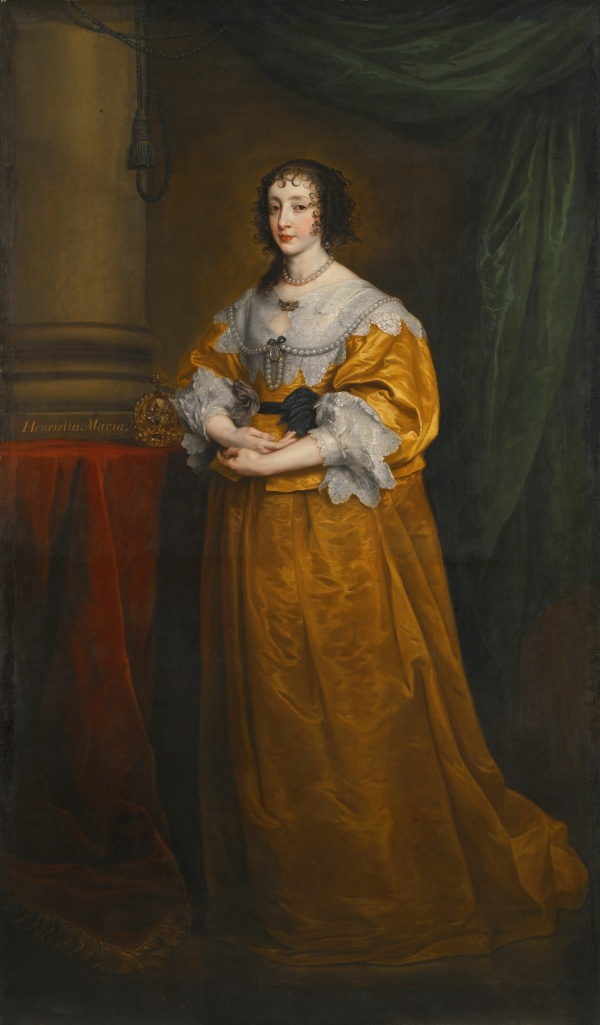 Lot 28. Sir Anthony van Dyck ANTWERP 1599 - 1641 LONDON PORTRAIT OF QUEEN HENRIETTA MARIA (1609–1669) later inscribed, centre left: Henrietta Maria oil on canvas, extended 127 by 81.3 cm.; 50 by 32 in. (extended in the 18th century by another hand, possibly Sir Joshua Reynolds, to create a full-length portrait of 223.6 by 130.8 cm.; 88 by 51 1/2 in.) Estimate: £1.5-2.5 million. Click on image to enlarge.