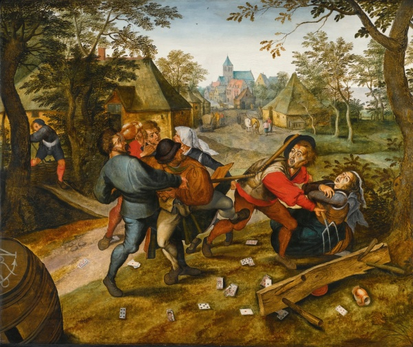 Lot 29. Pieter Brueghel the Younger BRUSSELS 1564 - 1637/8 ANTWERP THE PEASANTS' BRAWL – 'LA RIXE DES PAYSANS' oil on oak panel, the reverse with the brand of the City of Antwerp and the maker's mark of a clover leaf for Michiel Claessins (active c. 1590–1637) 97 by 115 cm.; 38 1/4 by 45 1/4 in. Estimate: £600,000-800,000. Click on image to enlarge.