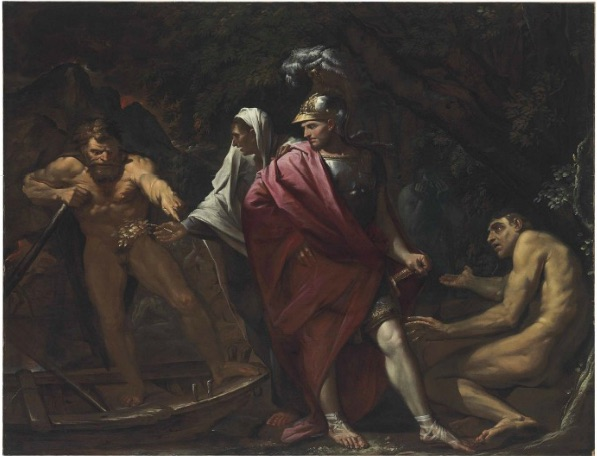 Lot 31. Pietro Testa, il Lucchesino (Lucca 1612-1650 Rome) Aeneas and the Cumaean Sibyl presenting the Golden Bough to Charon oil on canvas 62 ¼ x 81 1/8 in. (158.1 x 206.2 cm.) Estimate: £300,000-500,000. This lot sold for a hammer price of £620,000 (£ with premium).