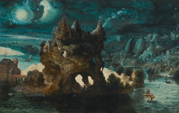 Lot 4. Herri met de Bles BOUVINES CIRCA 1510 - AFTER 1550 ANTWERP (?) A FANTASTICAL MOONLIT LANDSCAPE WITH ST. CHRISTOPHER CARRYING THE CHRIST CHILD ACROSS A RIVER oil on oak panel 21.5 by 33.9 cm.; 8 1/2 by 13 3/8 in. Estimate: £80,000-120,000. Click on image to enlarge.
