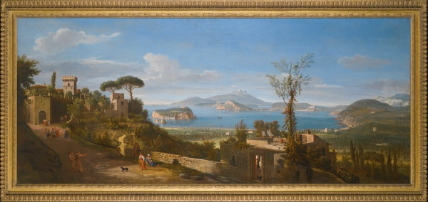 Lot 40. Gaspar van Wittel, called Vanvitelli AMERSFOORT 1652/3 - 1736 ROME A VIEW OF THE BAY OF POZZUOLI, NEAR NAPLES, TAKEN FROM THE EAST, LOOKING TOWARDS THE PORT OF BAIA, WITH THE ISLANDS OF NISIDA, PROCIDA AND ISCHIA oil on canvas 71 by 170 cm.; 28 by 67 in. Estimate: £800,000-1,200,000. Clic on image to enlarge.