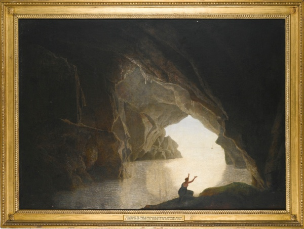 Lot 43. Joseph Wright of Derby, A.R.A. DERBY 1734 - 1797 A GROTTO IN THE GULF OF SALERNO, WITH THE FIGURE OF JULIA, BANISHED FROM ROME oil on canvas, held in its original Wright of Derby Neo-Classical frame 124 by 172 cm.; 48 3/4 by 67 3/4 in. Estimate: £100,000-150,000. Click on image to enlarge.