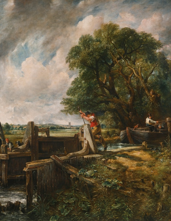 Lot 44. John Constable, R.A. EAST BERGHOLT, SUFFOLK 1776 - 1837 HAMPSTEAD THE LOCK inscribed on an old label, verso, in the artist's hand: Landscape: Barge passing a Lock / J. Constable R.A. 35 Charlotte St / London oil on canvas, unlined 139.7 by 122 cm.; 55 by 48 in. Estimate: £8-12 million. Click on image to enlarge.