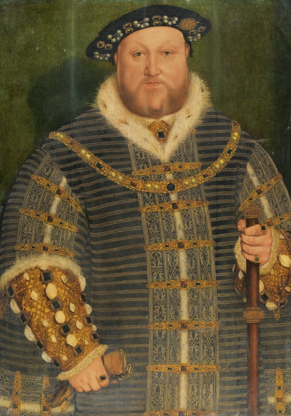 Lot 8. Workshop of Hans Holbein the Younger AUGSBURG 1497/8 - 1543 LONDON PORTRAIT OF KING HENRY VIII (1491–1547) oil on oak panel 91 by 64 cm.; 35 3/4 by 25 1/4 in. Estimate: £800,000-1,200,000. Click on image to enlarge.