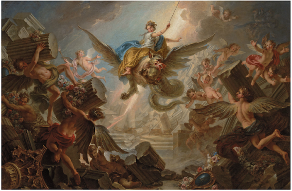 Christie's Lot 36. Charles-Antoine Coypel (Paris 1694-1752), The Destruction of the Palace of Armida, signed and dated 'CH. COYPEL. 1737' (lower right), oil on canvas 50 3/8 x 76 in. (128 x 193 cm.). Estimate: £250,000 – £300,000. Click on image to enlarge.