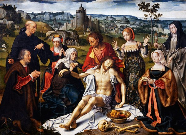 Joos van Cleve (circa 1485-1540), Alterpiece of the lamentation over the dead Christ, from the Church of the Friars Minor in Genoa, circa 1520. Detail. Paris, Musée Du Louvre Click on image to enlarge.