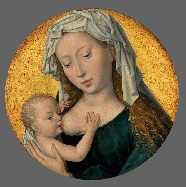 Christie's Lot 11. Hans Memling (Seligenstadt 1430/40-1494 Bruges) The Virgin Mary nursing the Christ Child oil and gold on oak panel, circular 6 7/8 in. (17.4 cm.) diameter. Estimate: £2.5-3.5 million ($3,780,000 - $5,292,000). Click on image to enlarge.