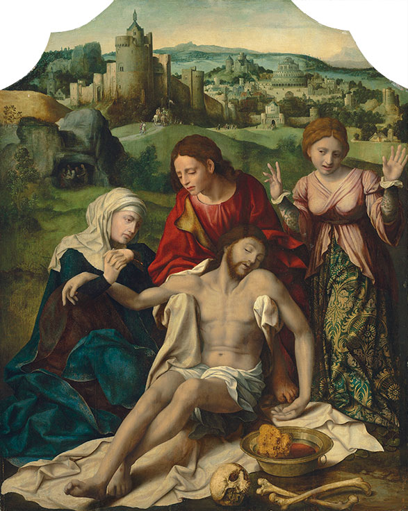 Lot 5. Workshop of Joos van Cleve (?Cleve c. 1485-1540/1 Antwerp) The Lamentation oil on panel, marouflaged, shaped top 57 ½ x 46 in. (146.1 x 116.9 cm.) Estimate: £150,000-200,000.