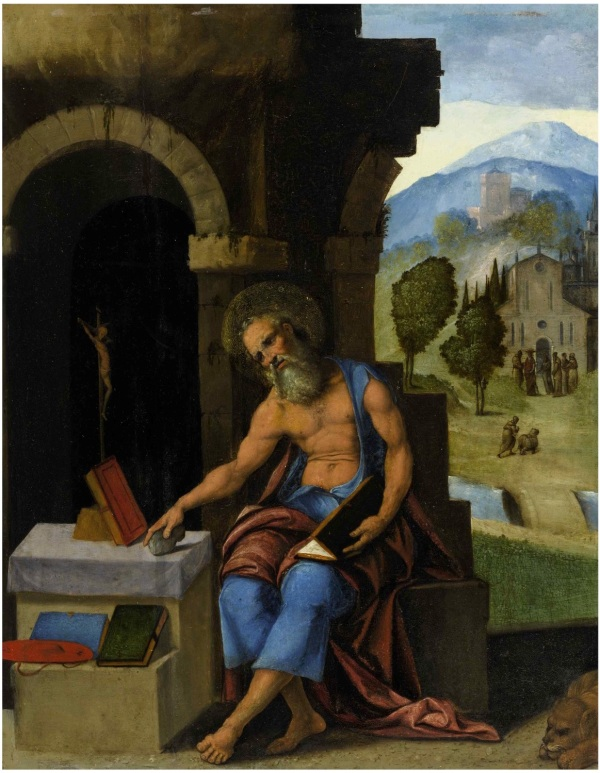 Lot 11. LUDOVICO MAZZOLINO FERRARA CIRCA 1480 - AFTER 27 SEPTEMBER 1528 SAINT JEROME IN CONTEMPLATION dated on the plinth lower right: 1528 oil and gold on panel 15 1/2 by 12 1/4 in.; 39.4 by 31.1 cm. Estimate: $250,000-350,000. Click on image to enlarge.