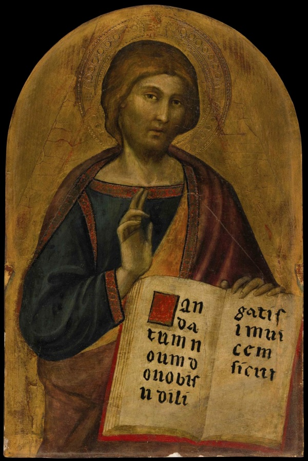 Lot 2. LUCA DI TOMMÈ ACTIVE IN SIENA 1356 - AFTER 1389 CHRIST BLESSING tempera on panel, gold ground, with a shaped top, the corners of which are made up overall: 16 1/4 by 10 3/4 in.; 41.1 by 27.1 cm.painted surface: 15 by 9 7/8 in.; 38.1 by 25 cm. Estimate: $100,000-150,000. This lot sold for a hammer price of $ ($ with fees). Click on image to enlarge.