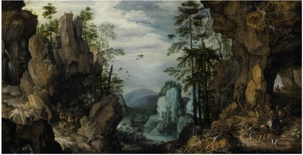 Lot 23. ROELANDT SAVERY KORTRIJK 1576 - 1639 UTRECHT A ROCKY LANDSCAPE WITH TRAVELERS signed and dated lower right: ROELANDT/SAVERY FE/1632 oil on panel 22 7/8 by 47 1/4 in.; 58 by 120 cm. Estimate: $300,000-500,000. Click on image to enlarge.