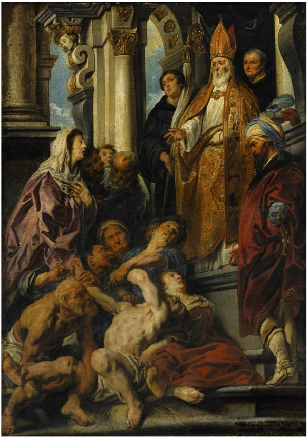 Lot 27. JACOB JORDAENS ANTWERP 1593 - 1678 SAINT MARTIN HEALING THE POSSESSED MAN signed and dated lower right: iacobvs iordaens in et pinxit Ao 1630 oil on canvas 48 1/4 by 34 1/2 in.; 122.5 by 87.5 cm. Estimate: $4-6 million. Click on image to enlarge.