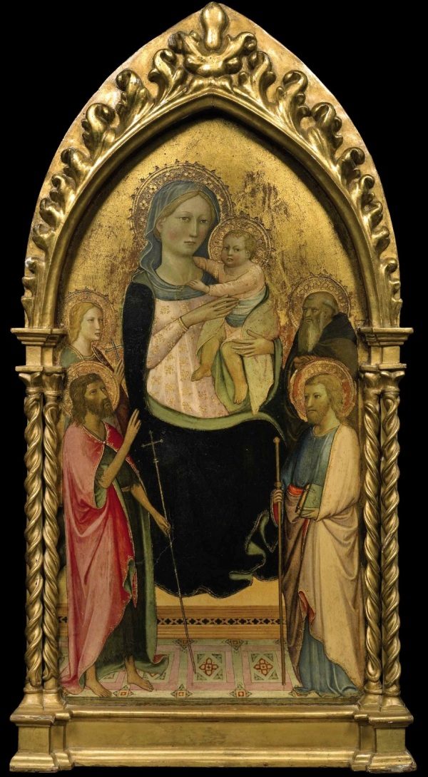 Lot 3. VENTURA DI MORO BORN IN FLORENCE BETWEEN 1395 AND 1402 - 1486 MADONNA AND CHILD WITH FOUR SAINTS tempera on panel, gold ground, arched top 46 by 24 in.; 117 by 61 cm. Estimate: $120,000-180,000. Click on image to enlarge.