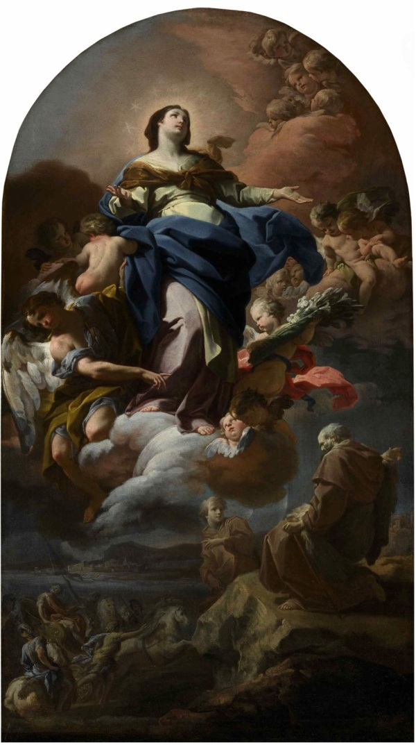 Lot 34. CORRADO GIAQUINTO MOLFETTA 1703 - 1766 NAPLES THE IMMACULATE CONCEPTION WITH THE PROPHET ELIJAH oil on canvas, with a painted arched top 41 by 23 3/8 in.; 104 by 59.4 cm. Estimate: $200,000-300,000. Click on image to enlarge.