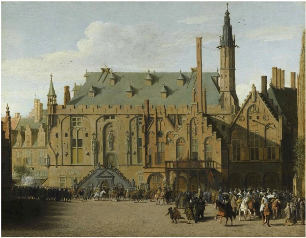 Lot 48. THE PROPERTY OF A GENTLEMAN PIETER JANSZ. SAENREDAM ASSENDELFT 1597 - 1665 HAARLEM THE TOWN HALL AT HAARLEM WITH THE ENTRY OF PRINCE MAURITS TO REPLACE THE GOVERNERS IN 1618 oil on oak panel 15 1/2 by 19 1/2 in.; 39.5 by 49.5 cm. Estimate: $2.5-3.5 million. Click animate to enlarge.