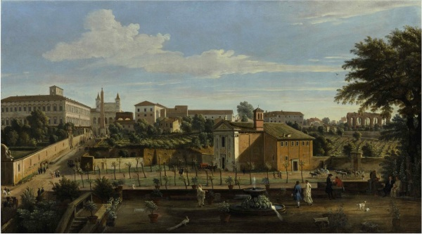 Lot 52. GASPAR VAN WITTEL, CALLED VANVITELLI AMERSFOORT 1652/3 - 1736 ROME ROME, A VIEW OF THE CHURCH OF SANTI MARCELLINO E PIETRO, FROM THE VIGNA CICCOLINI, WITH THE PALAZZO LATERANO, THE CHURCH OF SAN GIOVANNI IN LATERANO, THE OSPEDALE DI SAN GIOVANNI AND RUINS OF THE CLAUDIAN AQUEDUCT BEYOND oil on canvas 29 1/2 by 52 3/8 in.; 75 by 132.8 cm. Estimate: $1-2 million. Click on image to enlarge.