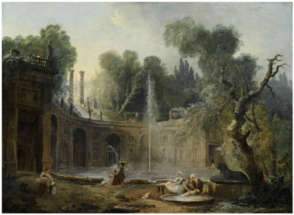 Lot 54. HUBERT ROBERT PARIS 1733 - 1808 THE TEATRO DELLE ACQUE IN THE GARDEN OF THE VILLA ALDOBRANDINI oil on canvas 22 by 29 7/8 in.; 55.9 by 75.8 cm. Estimate: $150,000-200,000. Click on image to enlarge.