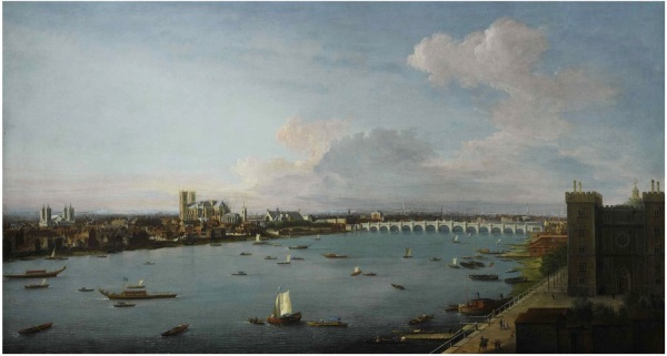 Lot 56. ANTONIO JOLI MODENA CIRCA 1700 - 1777 NAPLES LONDON, A VIEW OF THE CITY OF WESTMINSTER OVER THE RIVER THAMES FROM LAMBETH oil on canvas 59 3/8 by 109 3/8 in.; 150.8 by 278 cm. Estimate: $2-3 million. Click on image to enlarge.