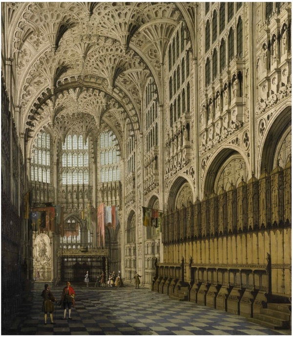 Lot 59. GIOVANNI ANTONIO CANAL, CALLED CANALETTO VENICE 1697 - 1768 AN INTERIOR VIEW OF THE HENRY VII CHAPEL, WESTMINSTER ABBEY oil on canvas 30 1/2 by 26 1/4 in.; 77.5 by 67 cm. Estimate: $5-8 million. Click on image to enlarge.