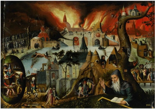 Lot 8. FOLLOWER OF HIERONYMOUS BOSCH, CIRCA 1550 THE TEMPTATION OF SAINT ANTHONY oil on panel, with painted added strips of 1 cm on each side 17 1/8 by 22 7/8 in.; 43.5 by 58 cm. Estimate: $300,000-400,000. Click on image to enlarge.