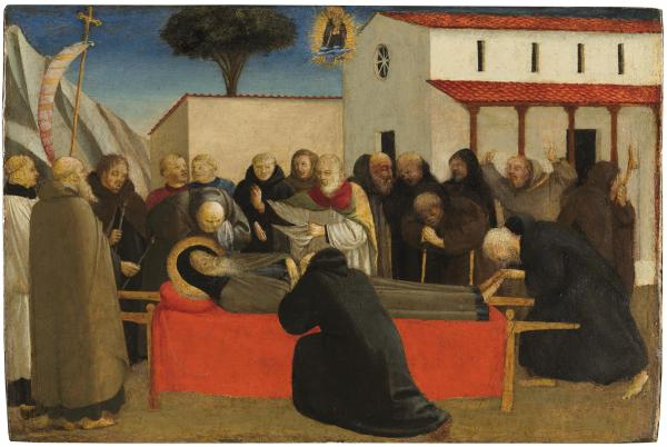 The Funeral of Saint Anthony Abbot by Fra Angelico. C. 1426-1430. Tempera on panel: 20.2 cm x 30.3 cm. Click on image to enlarge.