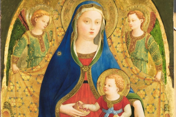 "Detail - ""The Virgin and Child with two Angels or The Virgin of the Pomegranate,"" Guido di Pietro, known as Fra Angelico. Click on image to enlarge."