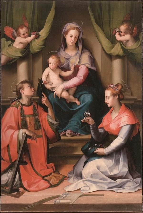 Carlo Portelli (d. 1574), Holy Mary with Child and Saint Lawrence and Saint Cecilia, (1540-1545), San Casciano in Val di Pesa (Firenze), pieve di Santa Cecilia a Decimo.