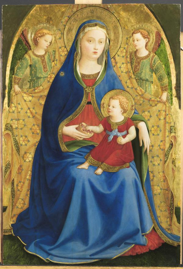 """The Virgin and Child with two Angels or The Virgin of the Pomegranate,"" Guido di Pietro, known as Fra Angelico. c. 1426. Tempera on Panel: 87cm x 59 cm Click on image to enlarge."