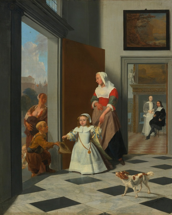 Lot 38. JACOB OCHTERVELT ROTTERDAM 1634 – 1682 AMSTERDAM A CHILD AND NURSE IN THE FOYER OF AN ELEGANT TOWNHOUSE, THE PARENTS BEYOND signed and dated on floor lower right: J. Ochtervelt f./1663 oil on canvas 32 by 26 1/4 in.; 81.5 by 66.8 cm. Estimate: $3-4 million. This lot sold for a hammer price of $3.8 million ($4,421,000 with the buyer's premium).