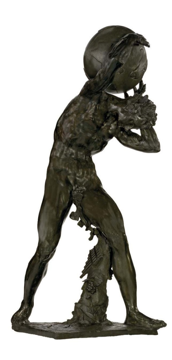 Lot 10. A BRONZE BACCHIC FIGURE SUPPORTING THE GLOBE BY ADRIAEN DE VRIES (DIED 1626), 1626 Depicted wearing vine leaves in his hair, standing with his legs astride and hunched forward; with his arms upraised and supporting the globe; a tree trunk support by his proper left leg entwined with grapevines and with pan pipes hanging from it; all on an integrally cast square plinth decorated in shallow relief with leaves and fowers; signed and dated on the edge of the plinth 'ADRIANVS FRIES 1626'; areas of oxidisation; minor repairs; the globe probably a 17th century replacement 43 in. (109 cm) high. Estimate: $15-25 million. This lot sold for