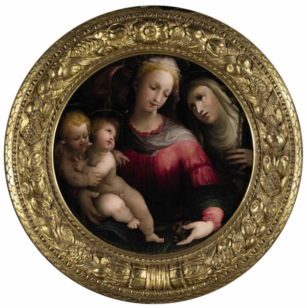Lot 12. DOMENICO BECCAFUMI CORTINE IN VALDIBIANA MONTAPERTI 1484 - 1551 SIENA MADONNA AND CHILD WITH THE INFANT SAINT JOHN THE BAPTIST AND SAINT CATHERINE OF SIENA Oil on panel, in a painted tondo overall:26 1/4 by 25 7/8 in.; 66.4 by 65.7 cmpainted surface diameter: 24 ¾ in.; 65.5 cm Estimate: $2-3 million. Click on image to enlarge.