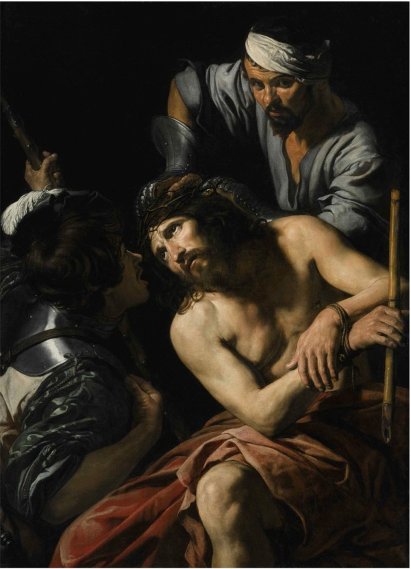 Lot 20. VALENTIN DE BOULOGNE COULOMMIERS-EN-BRIE, SEINE-ET-MARNE BAPT 1591 (?) - 1632 ROME THE CROWNING WITH THORNS Oil on canvas 58 5/8 by 41 7/8 in.; 146.4 by 106.5 cm Estimate: $1.5-2 million. Click on image to enlarge.