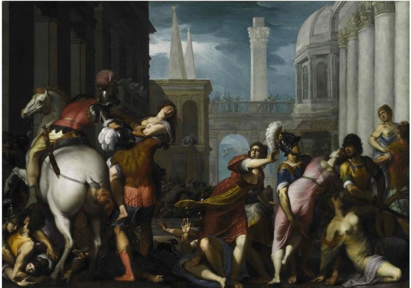 Lot 21. JACOPO LIGOZZI VERONA 1547 - 1627 FLORENCE THE ABDUCTION OF THE SABINE WOMEN Signed and indistinctly dated IACOPO LIGOZZI / FA [CE]VA...96 (lower center, beneath the dog) Oil on canvas 52 1/8 by 73 3/8 in.; 132.3 by 186.4 cm Estimate: $600,000-800,000. Click on image to enlarge.