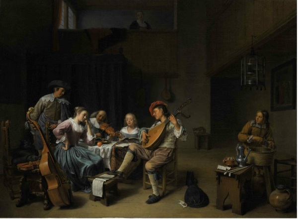 Lot 26. HENDRICK MAERTENSZ. SORGH ROTTERDAM 1609 OR 1611 - 1670 A MUSICAL COMPANY IN AN INTERIOR signed and dated lower right: HM Sorgh/1661 oil on canvas 26 3/4 by 32 1/4 in.; 68 by 82 cm. Estimate: $800,000-1,200,000. Click on image to enlarge.