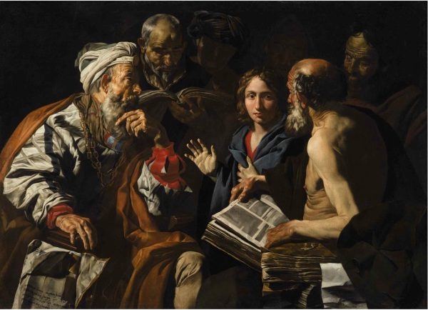 Lot 30. MATTHIAS STOMER AMERSFOORT NEAR UTRECHT CIRCA 1600 - AFTER 1652 (?) SICILY OR NORTHERN ITALY CHRIST DISPUTING WITH THE DOCTORS Oil on canvas 53 1/2 by 71 1/4 in.; 136 by 181 cm Estimate: $1-1.5 million. Click on image to enlarge.