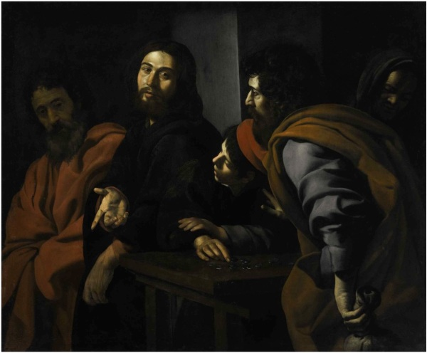 Lot 41. GIOVANNI BATTISTA CARACCIOLO, CALLED BATTISTELLO NAPLES 1578 - 1635 THE CALLING OF SAINT MATTHEW Oil on canvas 51 3/8 by 61 1/2 in.; 130.5 by 156.4 cm Estimate: $800,000-1,200,000. Click on image to enlarge.
