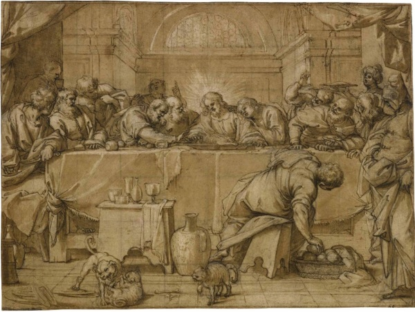 Lot 5. AGOSTINO CARRACCI BOLOGNA 1557 - 1602 PARMA THE LAST SUPPER Bears numbering in black ink, lower right (partially cut): 68 Pen and brown ink and wash over black chalk, squared in black chalk 10 3/8 by 14 in.; 263 by 354 mm Estimate: $150,000-250,000. Click on image to enlarge.