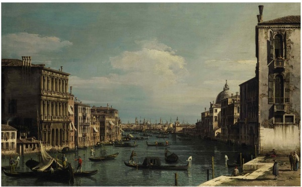 Lot 50. BERNARDO BELLOTTO VENICE 1722 - 1780 WARSAW VENICE, A VIEW OF THE GRAND CANAL LOOKING EAST FROM THE CAMPO DI SAN VIO, TO THE LEFT THE PALAZZO CORRER Oil on canvas 24 by 38 3/8 in.; 61 by 97.5 cm. Estimate: $1.5-2 million. Click on image to enlarge.
