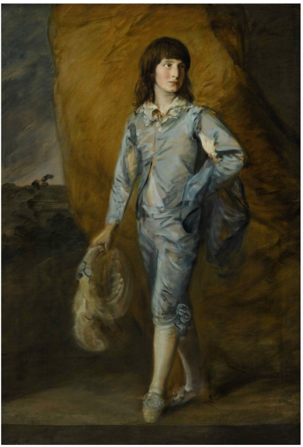 Lot 62. THOMAS GAINSBOROUGH R.A. SUDBURY 1727 - 1788 LONDON THE BLUE PAGE Oil on canvas, with an addition of approximately 3 1/2 inches across the bottom 65 by 44 1/2 in.; 165.5 by 113 cm. Estimate: $3-4 million. Click on image to enlarge.