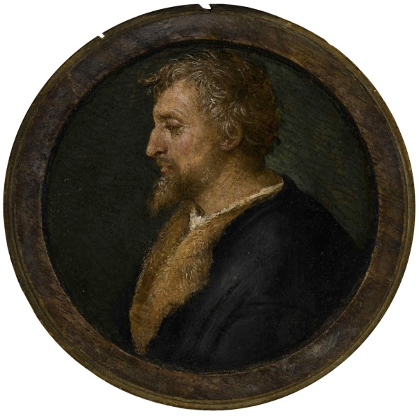 Lot 8. RAFFAELLO SANZIO, CALLED RAPHAEL URBINO 1483 - 1520 ROME PROFILE PORTRAIT OF VALERIO BELLI, BUST LENGTH, FACING LEFT Inscribed on the reverse Fatto dell'ano 1517 in Rom(a?) / Rafael Urbinate, in the upper section, RAFAEL VRBINATES PINXIT ROM(A?) (...) on the inside rim of the lid and Nacqu(?) ao di 147(6?) (...) 46. in the lower section Oil on panel, a roundel overall diameter: 4 15/16 in.; 12.5 cmpainted surface diameter: 4 in.; 10.1 cm Estimate: $2-3 million. Click on image to enlarge.